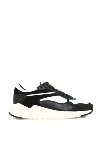 GEORGE HOGG SPORT Siyah Beyaz Logolu Kadın Deri Sneaker