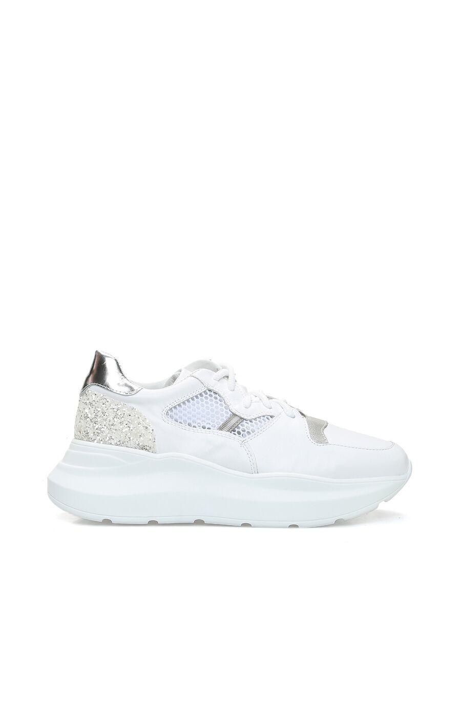 Beyaz File Garnili Kadın Deri Sneaker