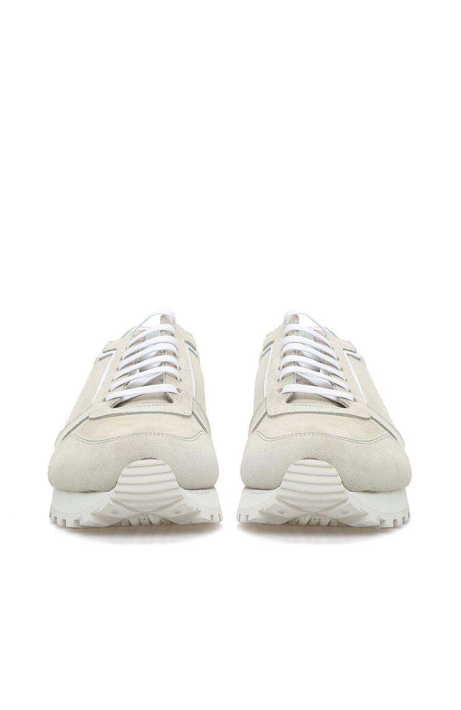 Bej Rengi Logolu Erkek Süet Sneaker