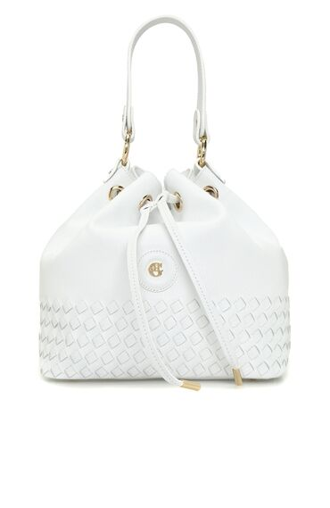 Beyaz Logolu Ağzı Büzgülü Kadın Deri Omuz Çantası