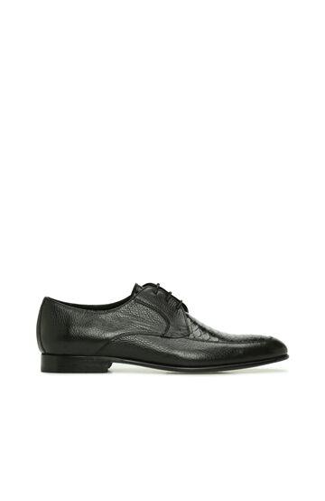 DI TROLLI Siyah Krokodil Doku Detaylı Erkek Deri Ayakkabı