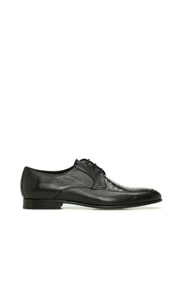 Siyah Krokodil Doku Detaylı Erkek Deri Ayakkabı