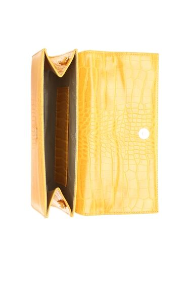 Kroko Sarı Kadın El Çantası