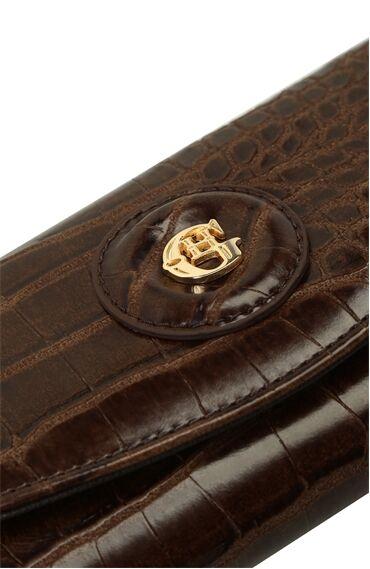 Kahverengi Krokodil Dokulu Logolu Kadın Cüzdan