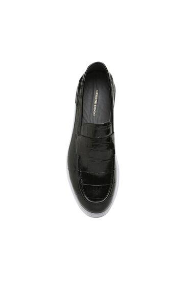 Siyah Kroko Dokulu Erkek Deri Loafer