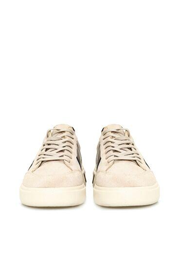 Bej Şeritli Leopar Desen Detaylı Kadın Sneaker