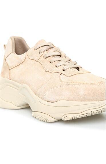Bej Kadın Süet Sneaker