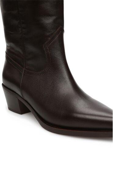 Kahverengi Topuklu Deri Çizme