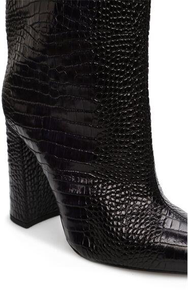 Siyah Kroko Dokulu Topuklu Deri Çizme
