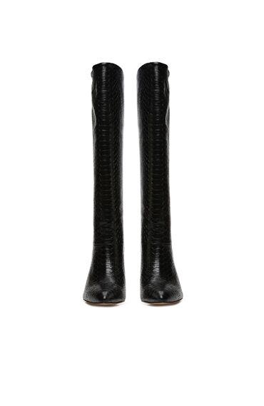 Siyah Yılan Desenli Topuklu Deri Çizme