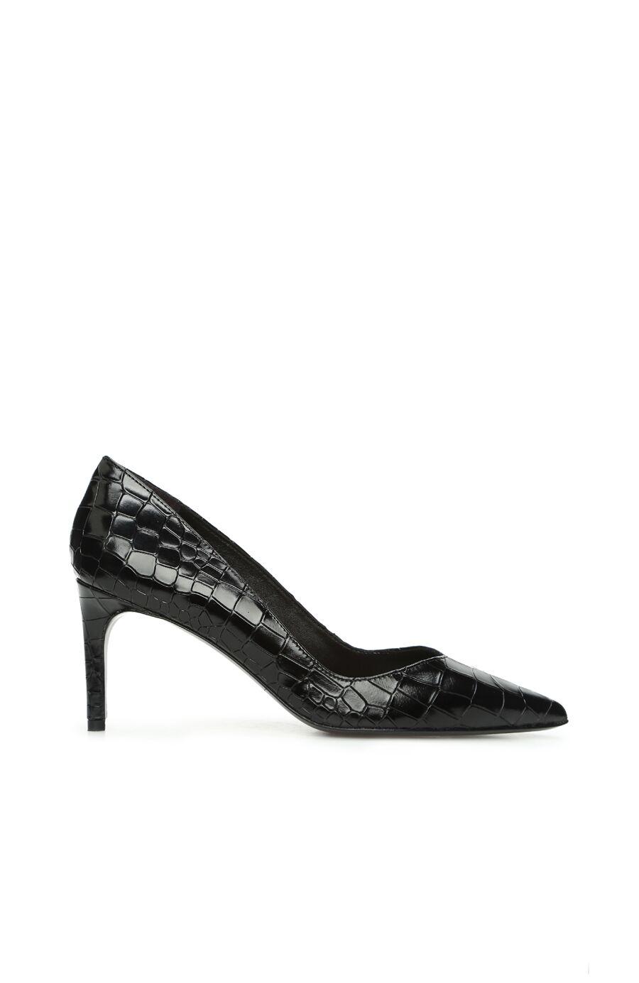 Siyah Krokodil Dokulu Kadın Deri Topuklu Ayakkabı