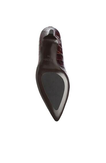 Kahverengi Kroko Dokulu Deri Stiletto