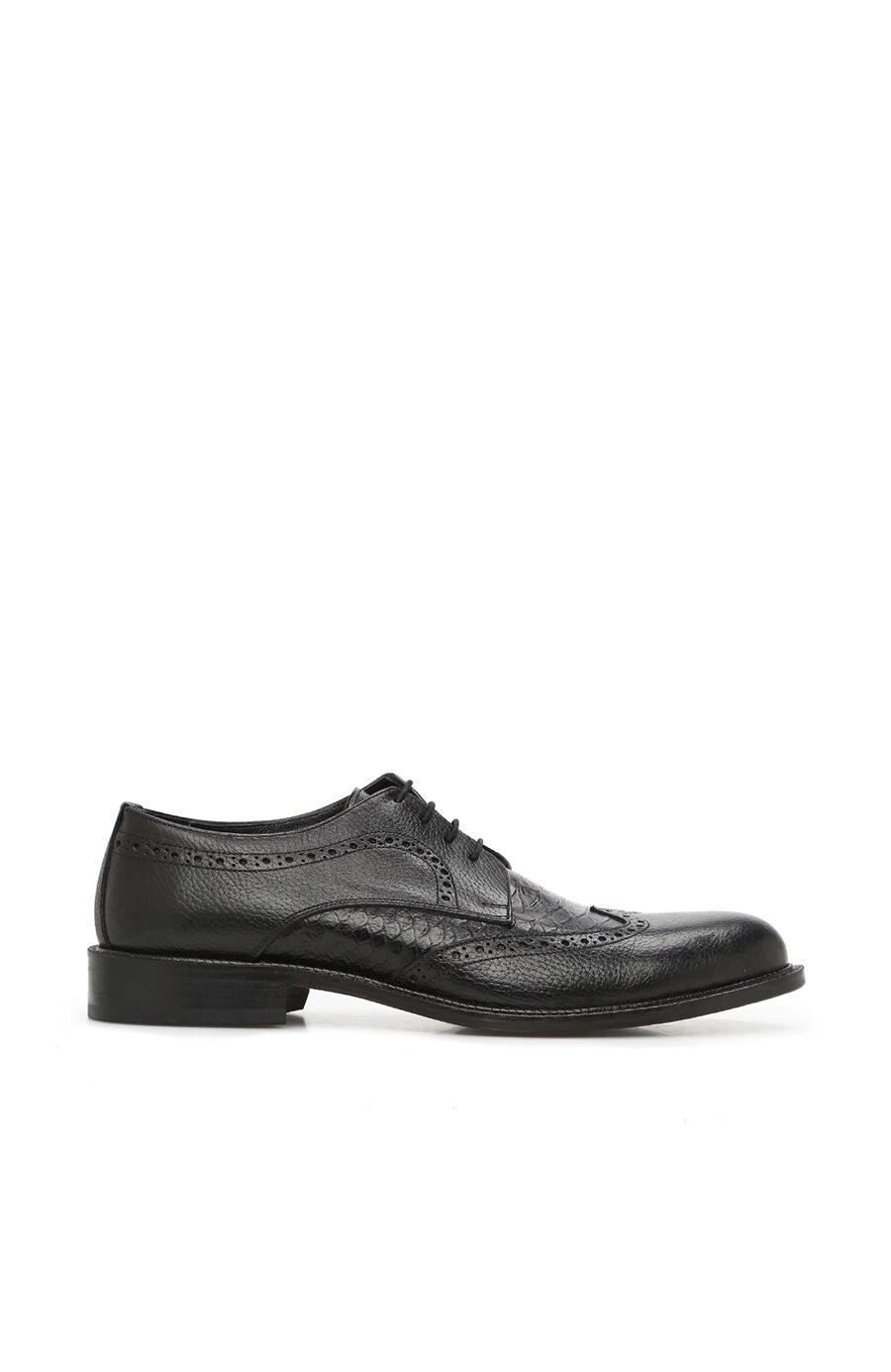 Siyah Doku Detaylı Erkek Deri Ayakkabı