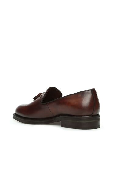 Kahverengi Püskül Detaylı Erkek Deri Loafer