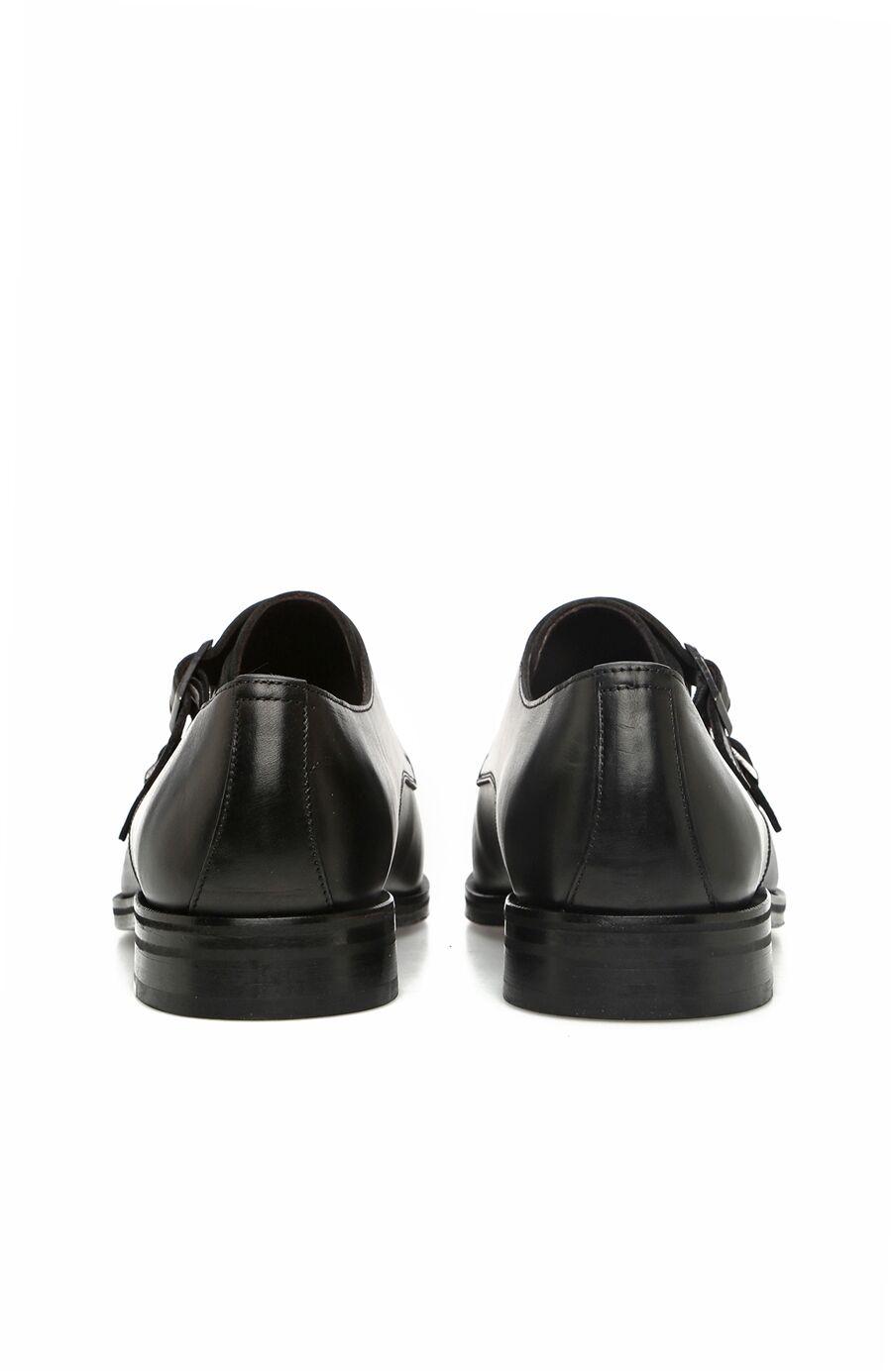 Siyah Çift Kemerli Erkek Deri Ayakkabı