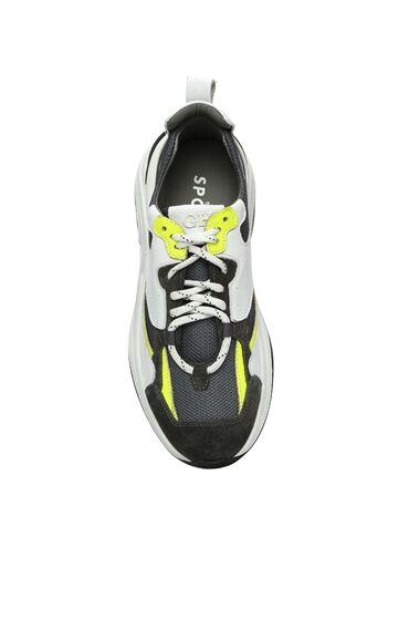 Beyaz Gri File Garnili Erkek Deri Sneaker