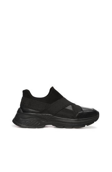 DIVARESE BLACK Siyah Lastik Detayı Erkek Deri Sneaker