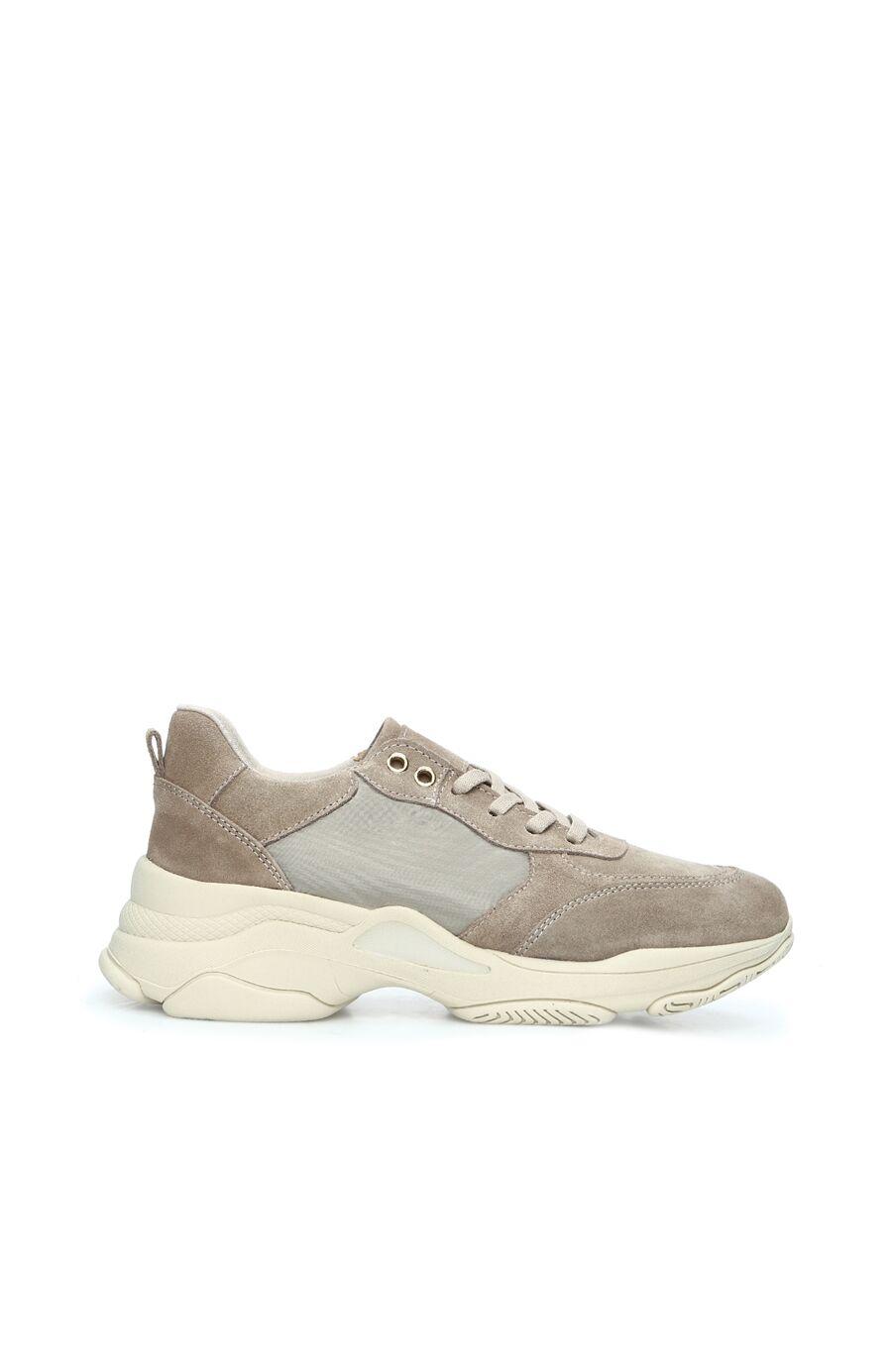 Bej Termo Tabanlı Kadın Süet Sneaker