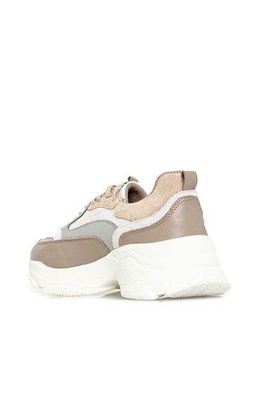Bej Kadın Deri Sneaker