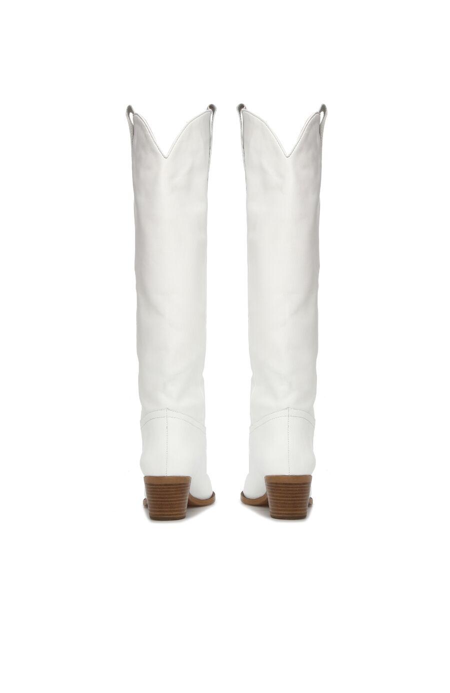 Beyaz Kemer Detaylı Kadın Deri Çizme
