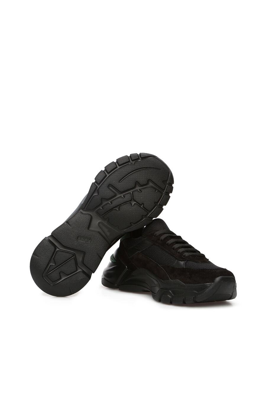Siyah File Garnili Kadın Deri Sneaker