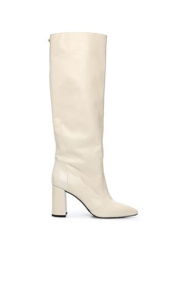 Beyaz Kadın Deri Çizme