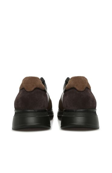Siyah Haki Erkek Deri Sneaker