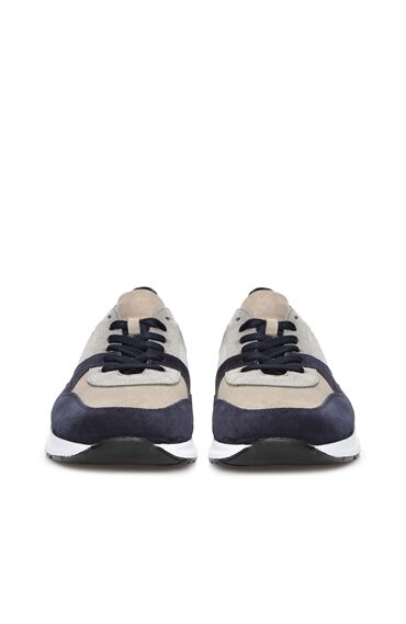 Gri Lacivert Erkek Süet Sneaker