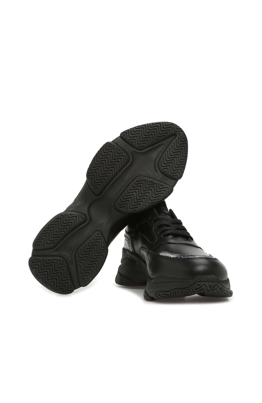 Siyah Gri Yılan Derisi Baskılı Kadın Sneaker