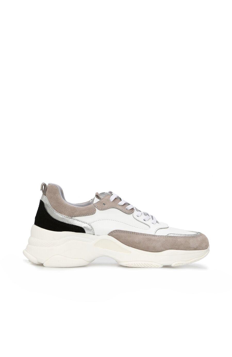 Beyaz Gri Termo Tabanlı Kadın Deri Sneaker