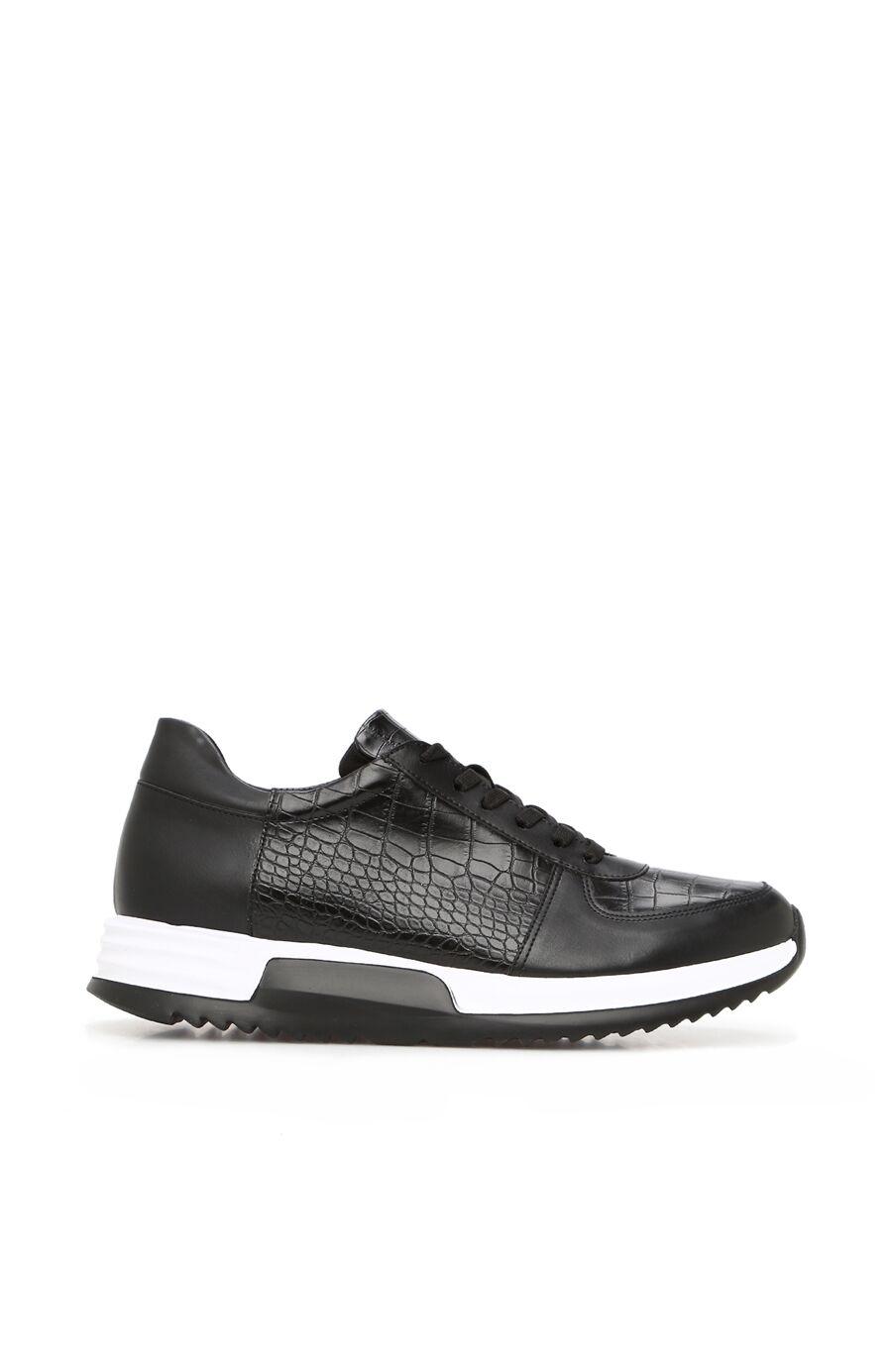 Siyah Kroko Doku Detaylı Erkek Sneaker