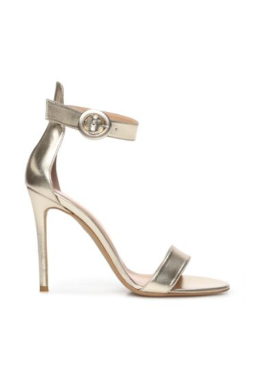 Gold Bantlı Kadın Deri Sandalet