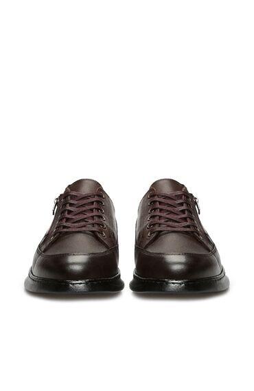 Kahverengi Fermuar Detaylı Erkek Deri Ayakkabı