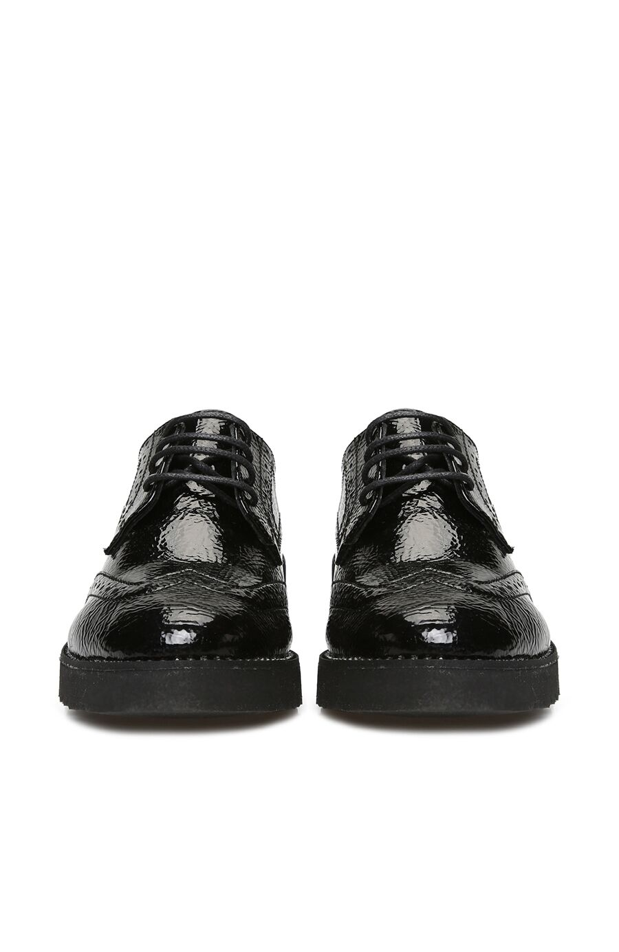 Siyah Parlak Dokulu Kadın Ayakkabı