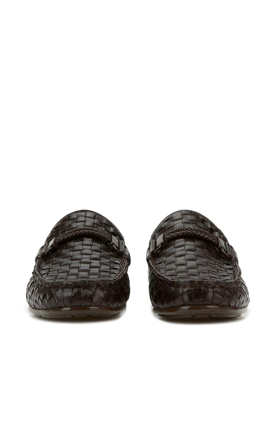 Kahverengi Örgü Dokulu Erkek Deri Loafer