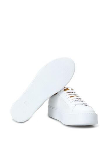 Beyaz Logolu Erkek Deri Ayakkabı