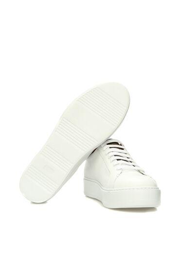 Beyaz Haki Deri Erkek Sneaker
