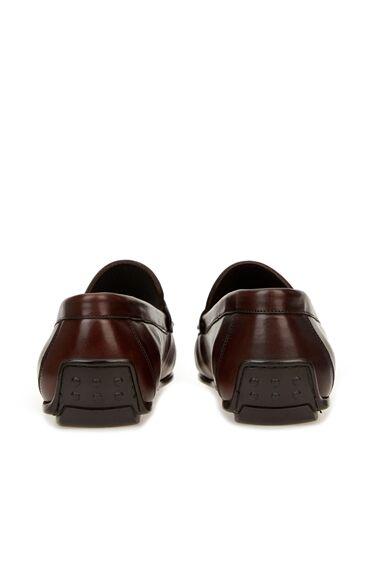 Kahverengi Bant Detaylı Erkek Deri Loafer