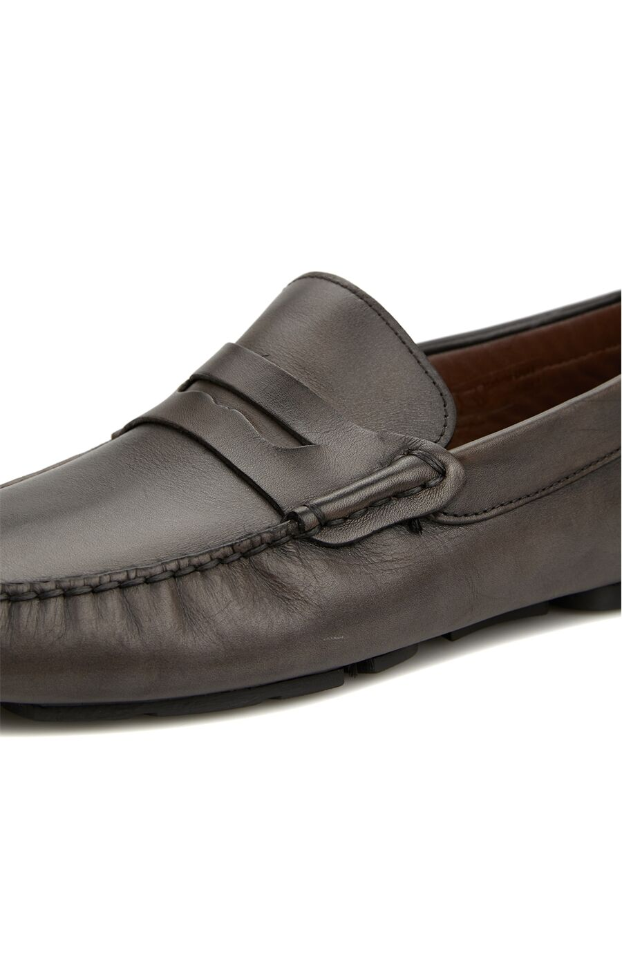 Gri Bant Detaylı Erkek Deri Loafer