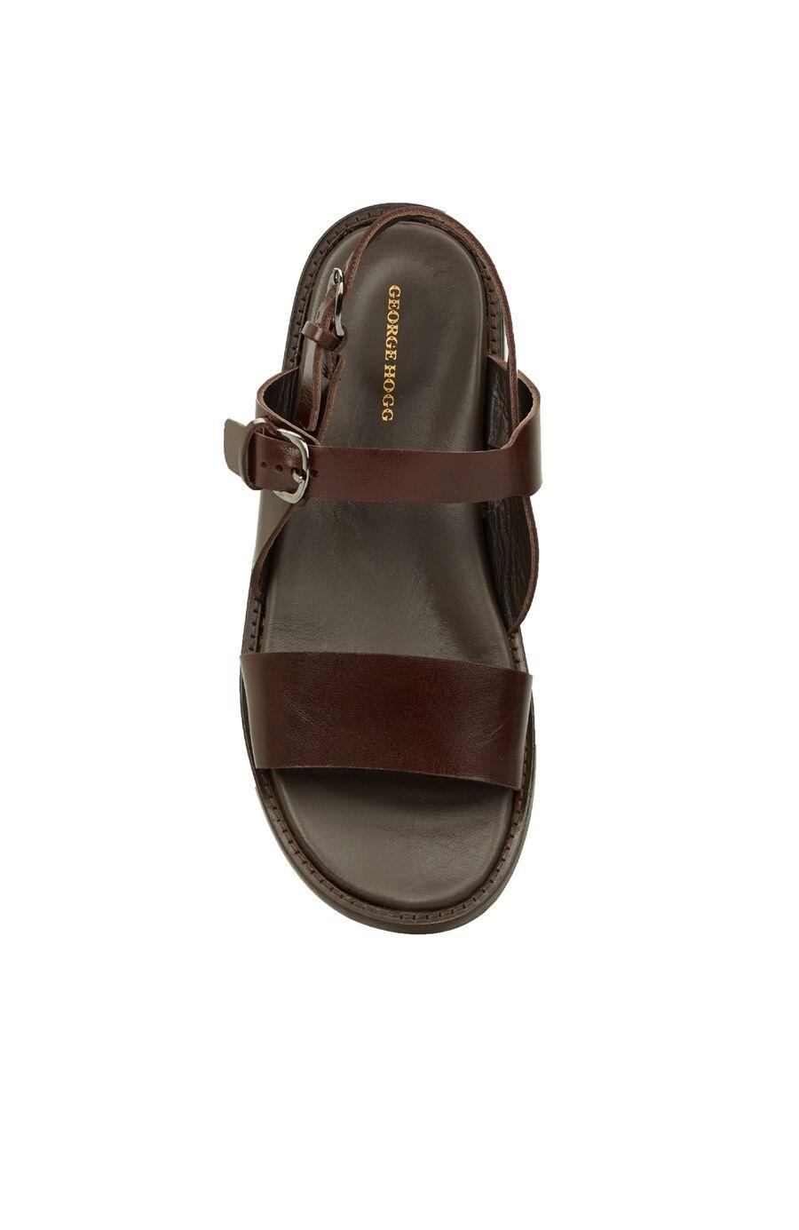 Kahverengi Erkek Deri Sandalet