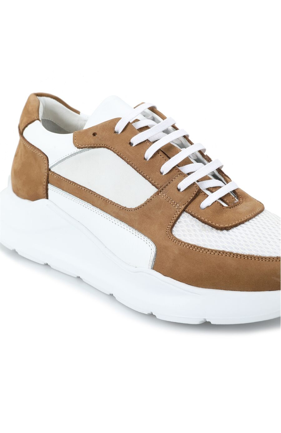 Beyaz Bej File Garnili Erkek Deri Sneaker