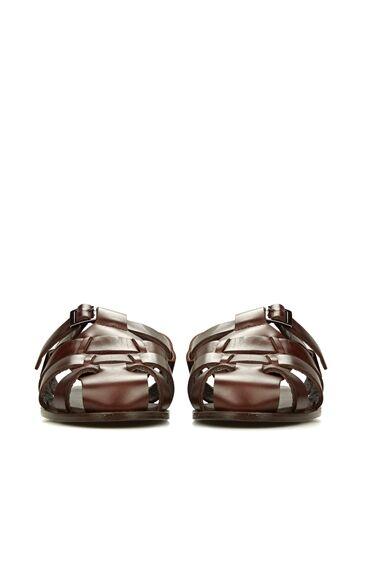 Kahverengi Çoklu Bantlı Erkek Deri Sandalet