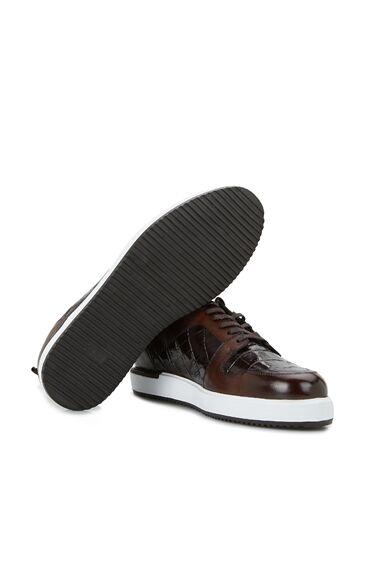 Kahverengi Krokodil Doku Detaylı Erkek Ayakkabı
