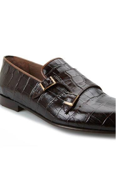Kahverengi Krokodilli Kemer Detaylı Erkek Ayakkabı