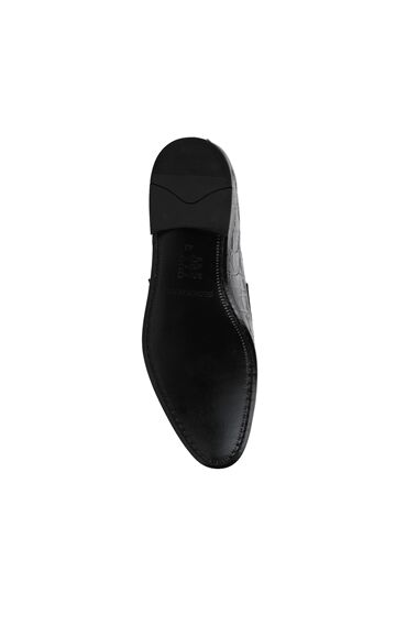 Siyah Krokodil Dokulu Erkek Deri Loafer