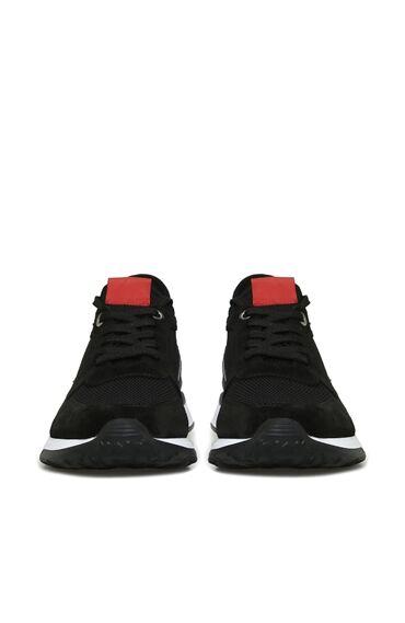 Siyah Garnili Logolu Süet Erkek Sneaker