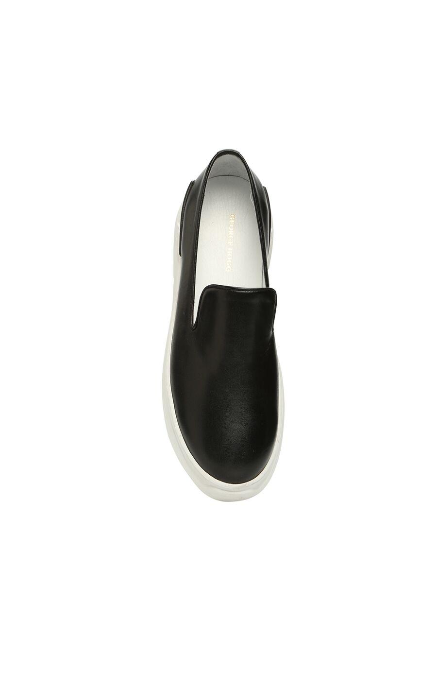 Siyah Beyaz Erkek Deri Loafer