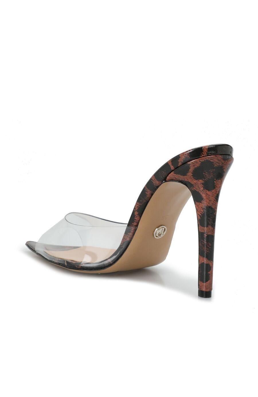 Kadın Kahverengi Leopar Desenli Topuklu Terlik