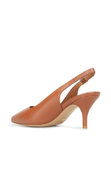 Kadın Taba Deri Topuklu Ayakkabı