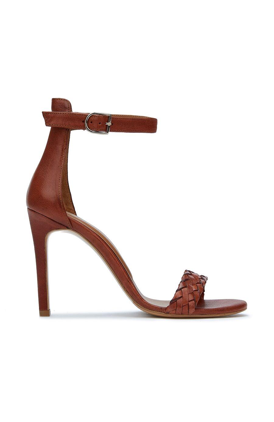 Taba Örgü Bantlı Kadın Deri Sandalet